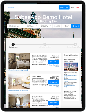 Booking engine for hoteliers